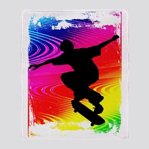 Skateboarding on Rainbow Grunge Back Throw Blanket