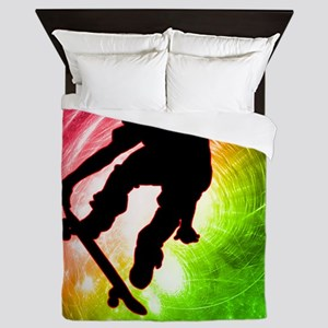 Skateboarder in a Psychedelic Cyclone Queen Duvet