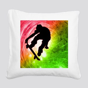 Skateboarder in a Psychedelic Square Canvas Pillow