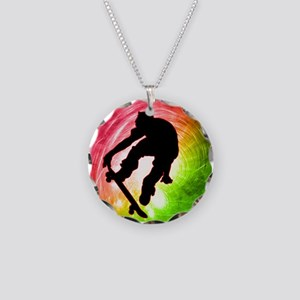 Skateboarder in a Psychedeli Necklace Circle Charm