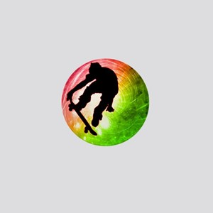 Skateboarder in a Psychedelic Cyclone Mini Button