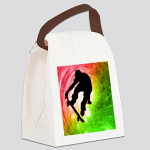 Skateboarder in a Psychedelic Cyc Canvas Lunch Bag