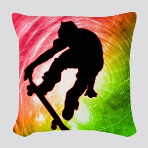 Skateboarder in a Psychedelic  Woven Throw Pillow