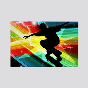 Skateboarder in Criss Cross Light Rectangle Magnet