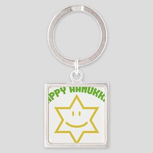 Happy Hanukkah Square Keychain