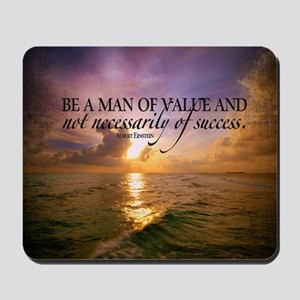 Value and Success Quote on Large Framed  Mousepad