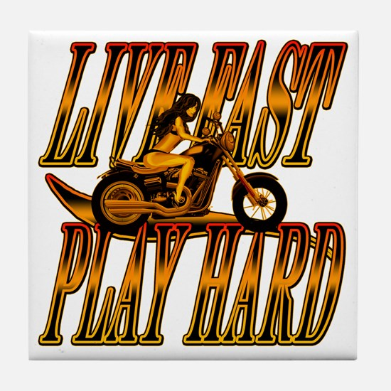 Live Fast Play Hard Girl Tile Coaster