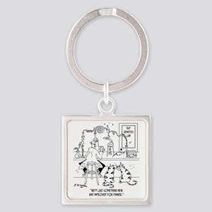 6606_food_processing_toon Square Keychain