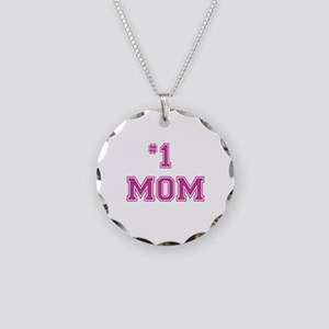#1 Mom in dark pink Necklace Circle Charm