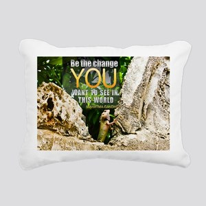 Be The Change Quote on Q Rectangular Canvas Pillow