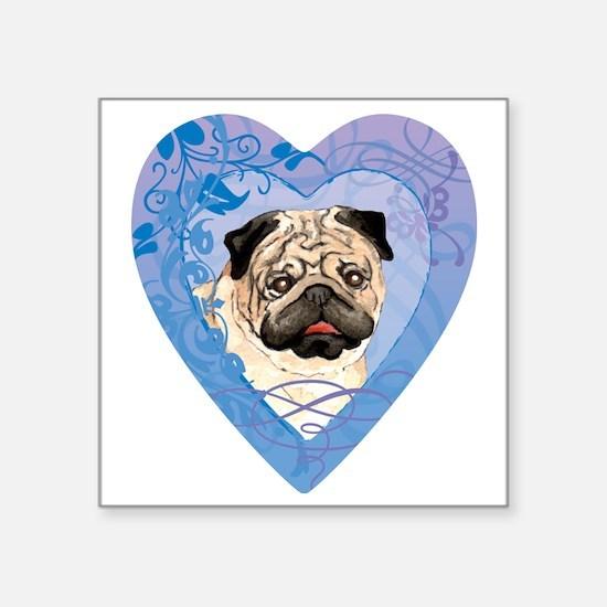 """pug-heart Square Sticker 3"""" x 3"""""""
