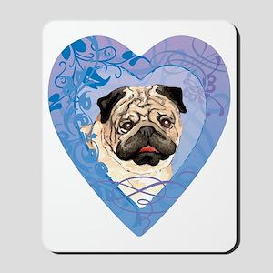 pug-heart Mousepad