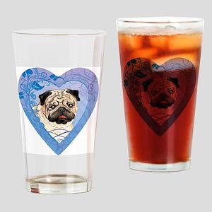 pug-heart Drinking Glass