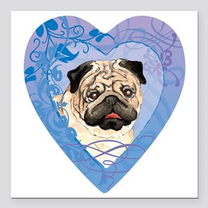 "pug-heart Square Car Magnet 3"" x 3"""