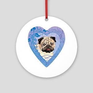 pug-heart Round Ornament