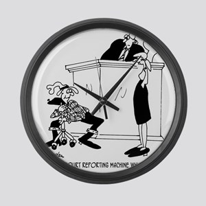 7419_court_reporter_cartoon Large Wall Clock