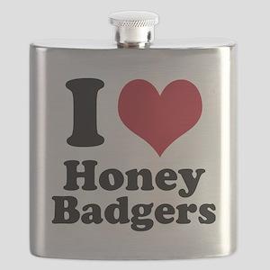 I Heart Honey Badger Flask
