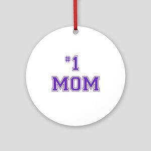 #1 Mom in purple Ornament (Round)
