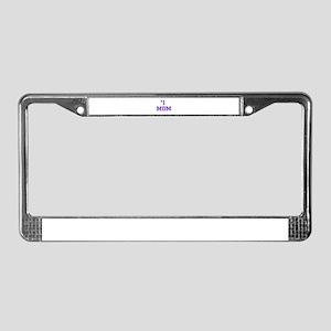 #1 Mom in purple License Plate Frame