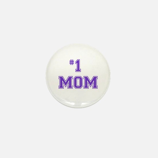 #1 Mom in purple Mini Button