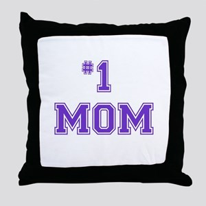 #1 Mom in purple Throw Pillow