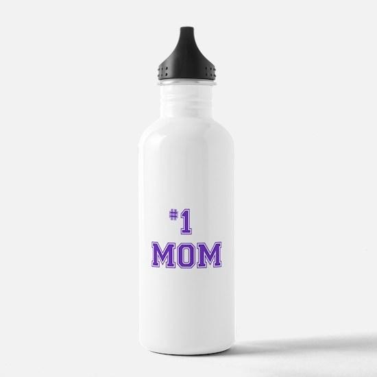 #1 Mom in purple Sports Water Bottle