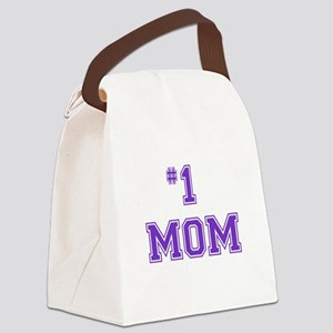#1 Mom in purple Canvas Lunch Bag