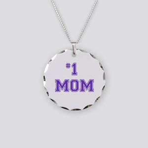 #1 Mom in purple Necklace Circle Charm