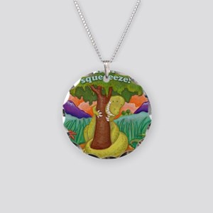 T-Rex Squeeze-A-Tree Necklace Circle Charm