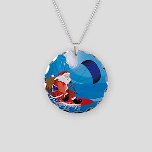 Santa KiteSurf Necklace Circle Charm