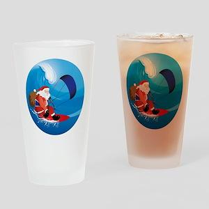Santa KiteSurf Drinking Glass