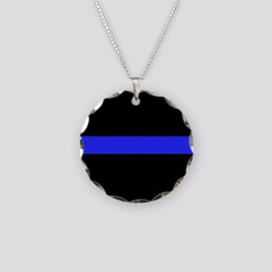 Police Thin Bue Line Necklace Circle Charm