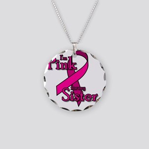Pink-Sister Necklace Circle Charm