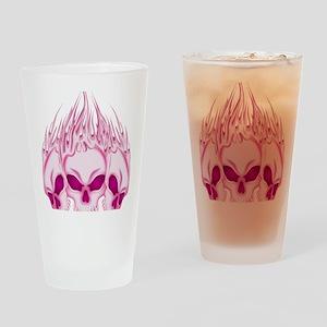 Flaming Pink Skulls Drinking Glass