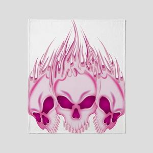 Flaming Pink Skulls Throw Blanket