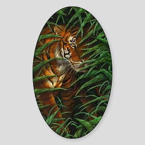 Tiger Stalking (Kindle Sleeve) Sticker (Oval)