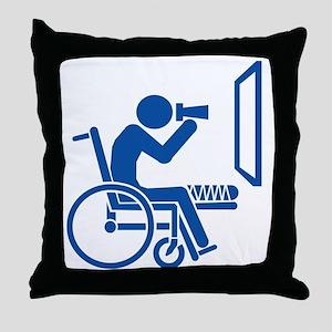 Rear Window Ethics - Blue Throw Pillow