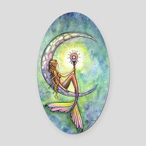 mermaid moon 9 x 12 cp Oval Car Magnet