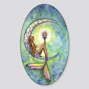mermaid moon 9 x 12 cp Sticker (Oval)