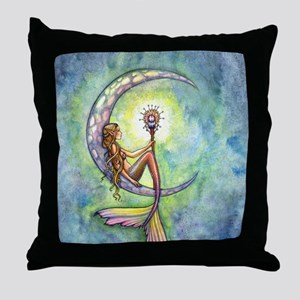 mermaid moon 9 x 12 cp Throw Pillow
