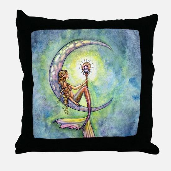 mermaid moon 9 x 12 cp Throw Pillow