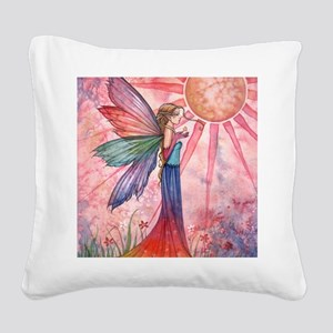 sunshine and rainbow 9 x 12 c Square Canvas Pillow
