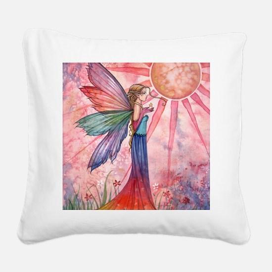 sunshine and rainbow 9 x 12 c Square Canvas Pillow