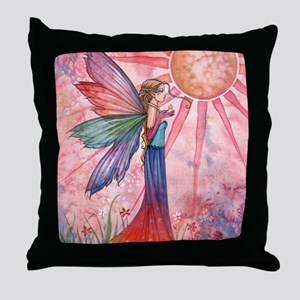 sunshine and rainbow 9 x 12 cp Throw Pillow