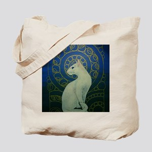 white cat 8X11 Tote Bag
