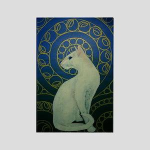 white cat 8X11 Rectangle Magnet