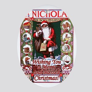 St_Nicholas_BlessedChristmas Oval Ornament