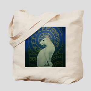 white cat oval Tote Bag