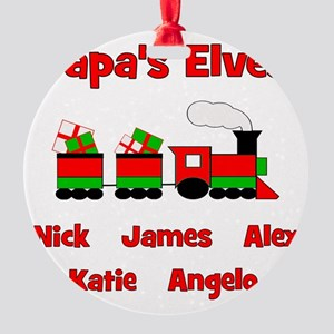 TRAIN_Papas_Elves Round Ornament