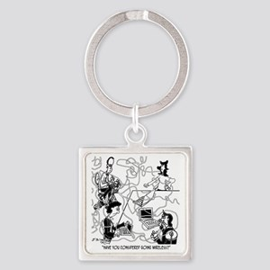 8340_court_reporter_cartoon Square Keychain